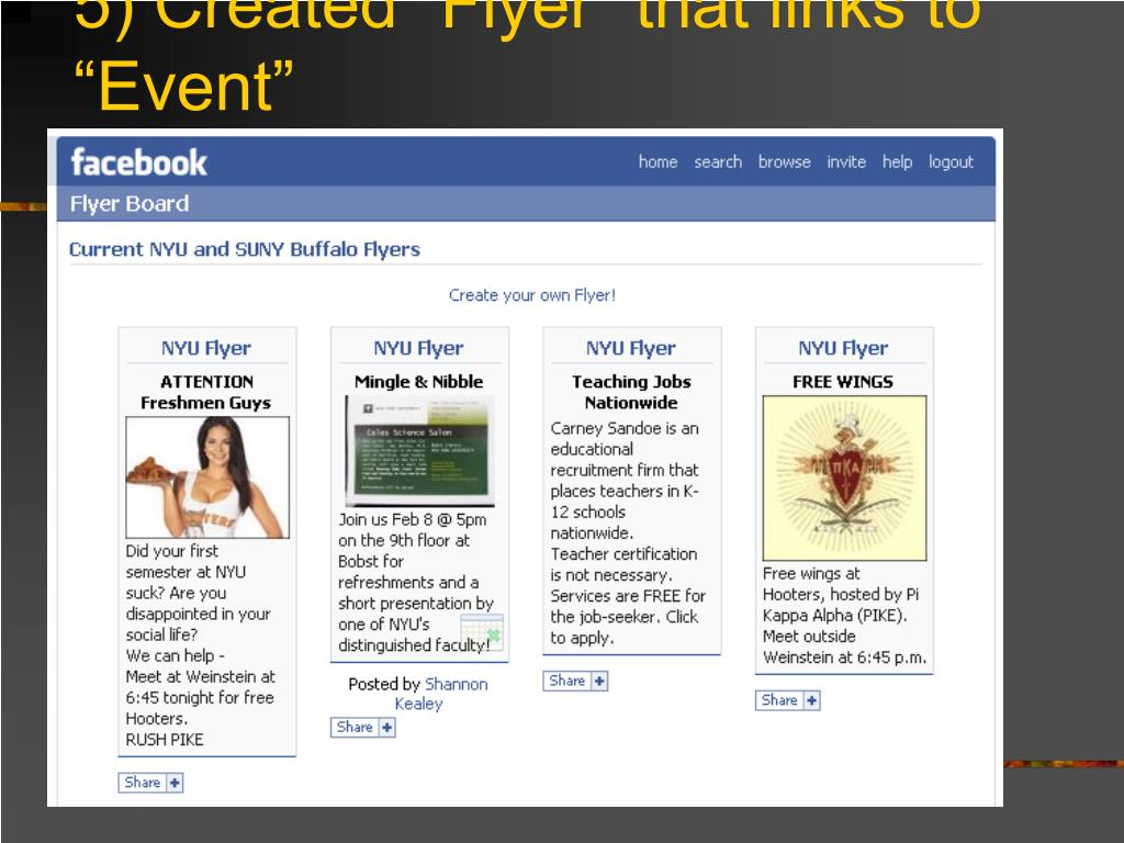 "5) Created ""Flyer"" that links to ""Event"""
