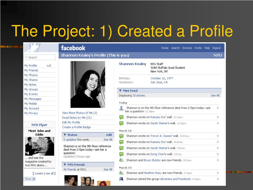 The Project: 1) Created a Profile