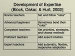 development of expertise block oakar hurt 2002
