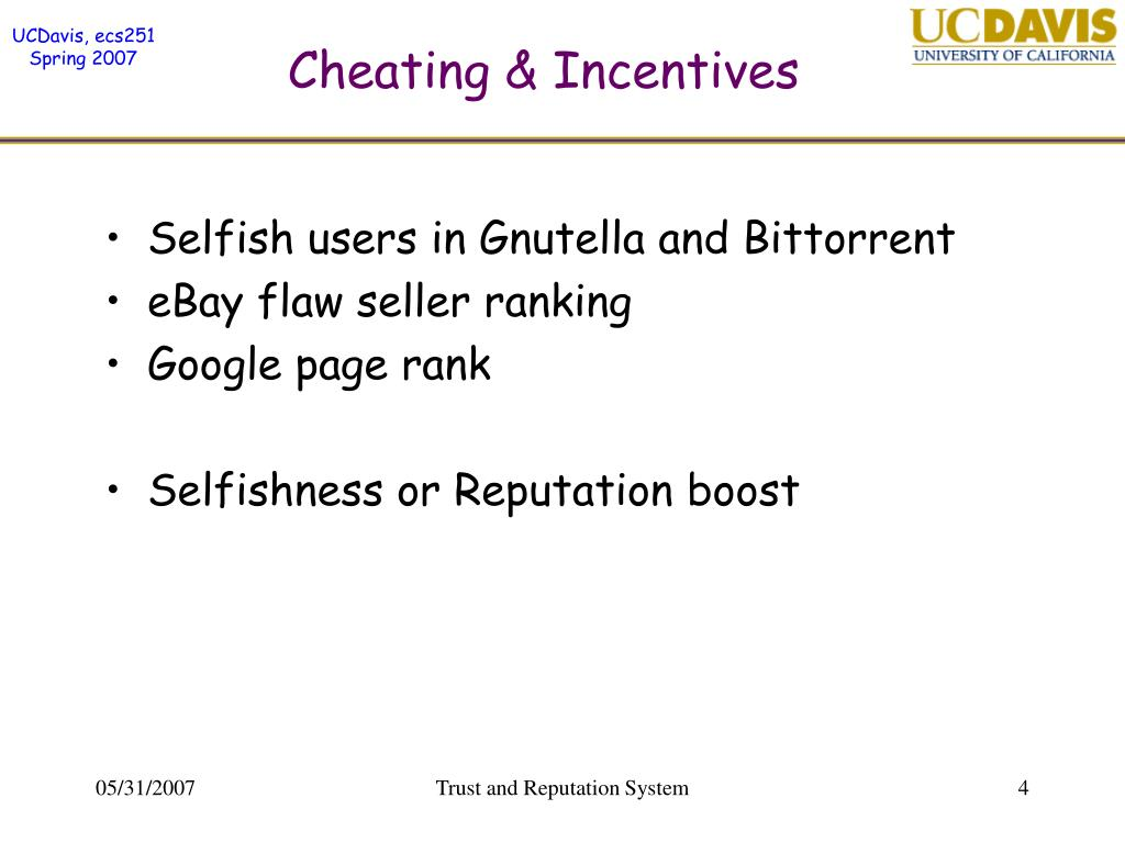 Cheating & Incentives