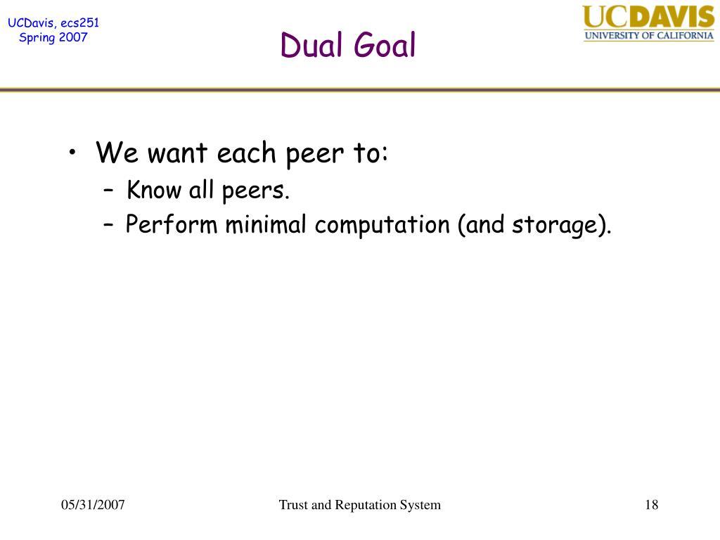 Dual Goal