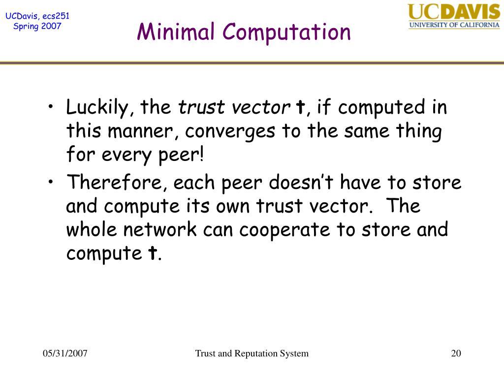 Minimal Computation