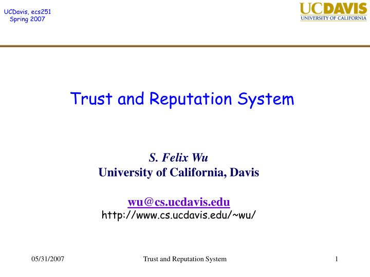 trust and reputation system n.