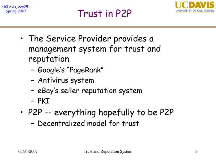 Trust in p2p