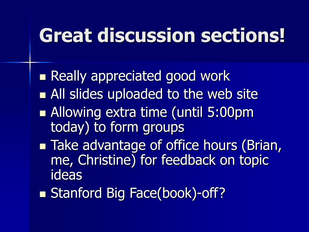 Great discussion sections!
