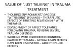 value of just talking in trauma treatment