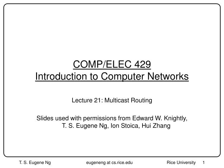 Comp elec 429 introduction to computer networks