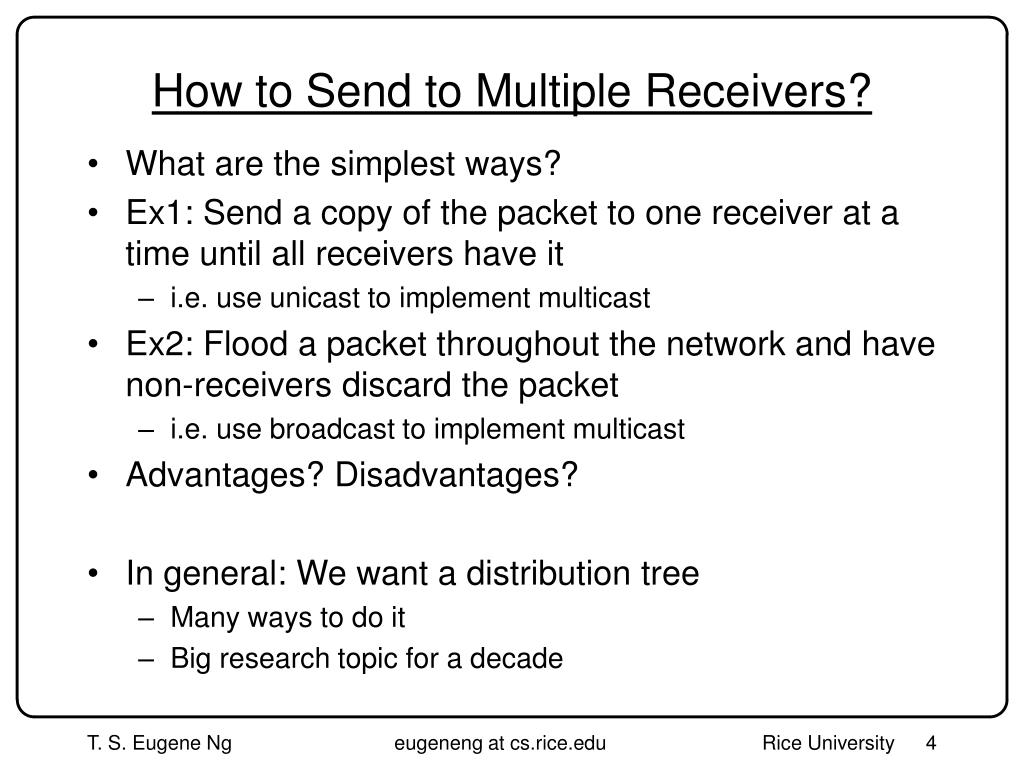 How to Send to Multiple Receivers?