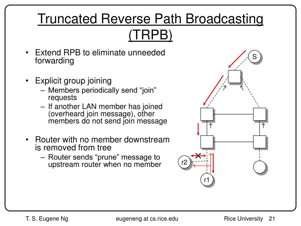 Truncated Reverse Path Broadcasting (TRPB)