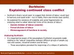 durkheim explaining continued class conflict