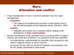 marx alienation and conflict