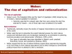 weber the rise of capitalism and rationalization