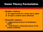 game theory formulation