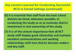 key lessons learned for conducting successful rcts in school settings continued41
