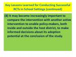 key lessons learned for conducting successful rcts in school settings continued42