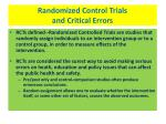 randomized control trials and critical errors
