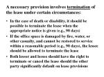 a necessary provision involves termination of the lease under certain circumstances