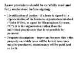 lease provisions should be carefully read and fully understood before signing
