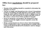 office lease negotiations should be prepared for