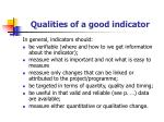 qualities of a good indicator20