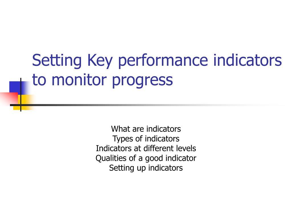 setting key performance indicators to monitor progress l.