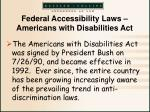 federal accessibility laws americans with disabilities act