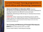 current principal training programmes in south africa with mentoring component