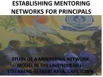 establishing mentoring networks for principals