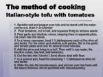 the method of cooking italian style tofu with tomatoes