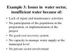 example 3 issues in water sector insufficient water because of