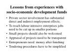 lessons from experiences with socio economic development funds