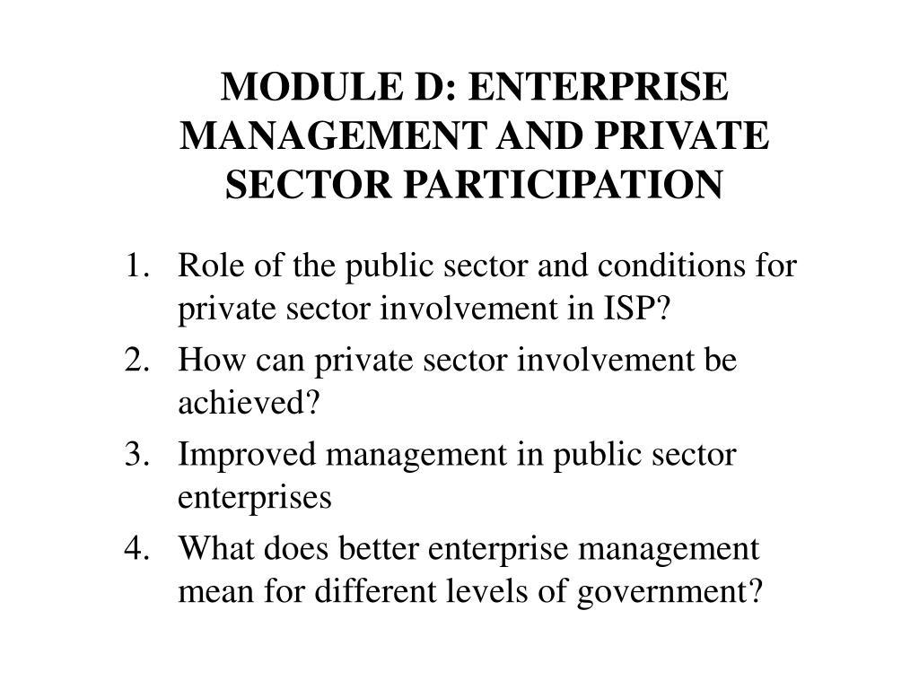 module d enterprise management and private sector participation l.
