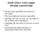 south africa water supply through a partnership