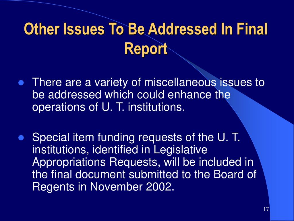 Other Issues To Be Addressed In Final Report