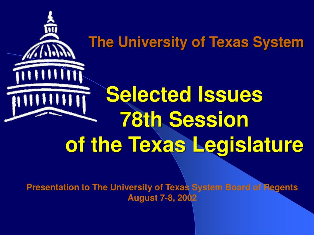 selected issues 78th session of the texas legislature l.