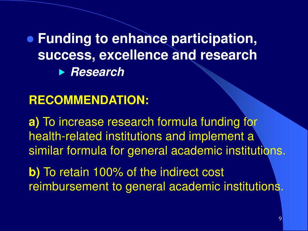Funding to enhance participation, success, excellence and research