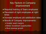 key factors in company improvement