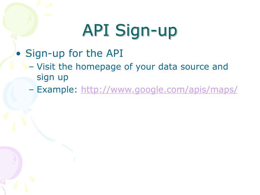 API Sign-up
