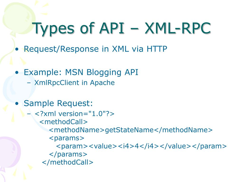 Types of API – XML-RPC