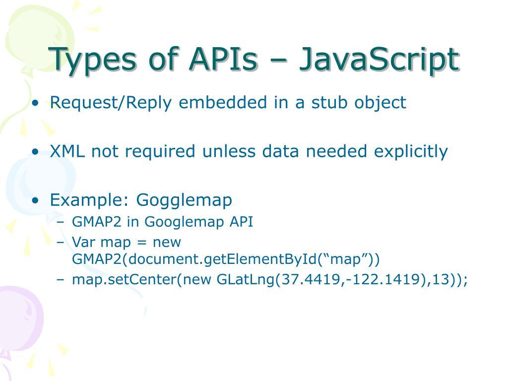 Types of APIs – JavaScript