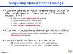 single hop measurement findings