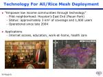 technology for all rice mesh deployment