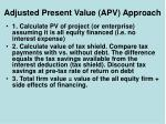 adjusted present value apv approach7