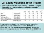 all equity valuation of the project