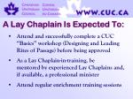 a lay chaplain is expected to