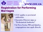 registration for performing marriages