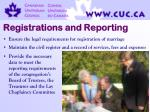 registrations and reporting