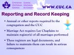 reporting and record keeping