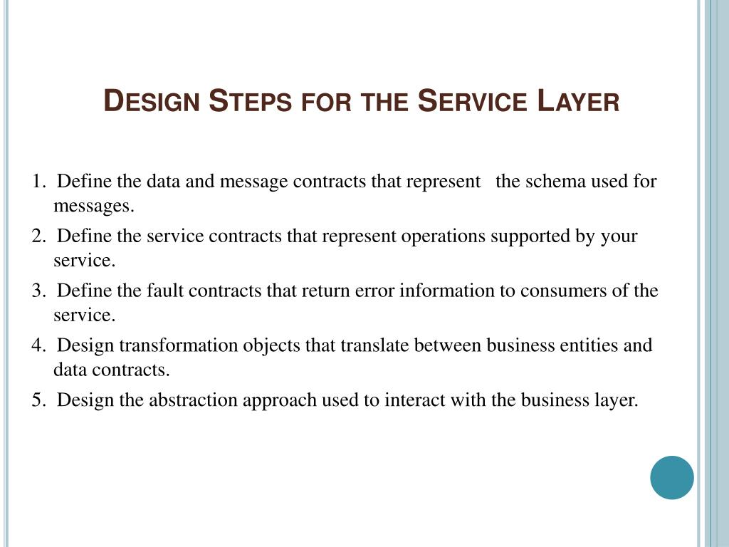Design Steps for the Service Layer