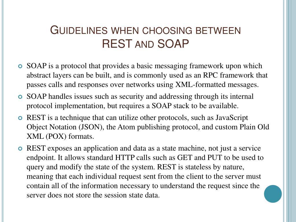 Guidelines when choosing between